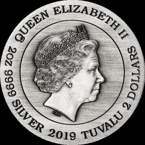 Тувалу монета 2 доллара Чужой, аверс