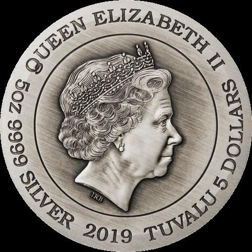Тувалу монета 5 долларов Дракон, аверс