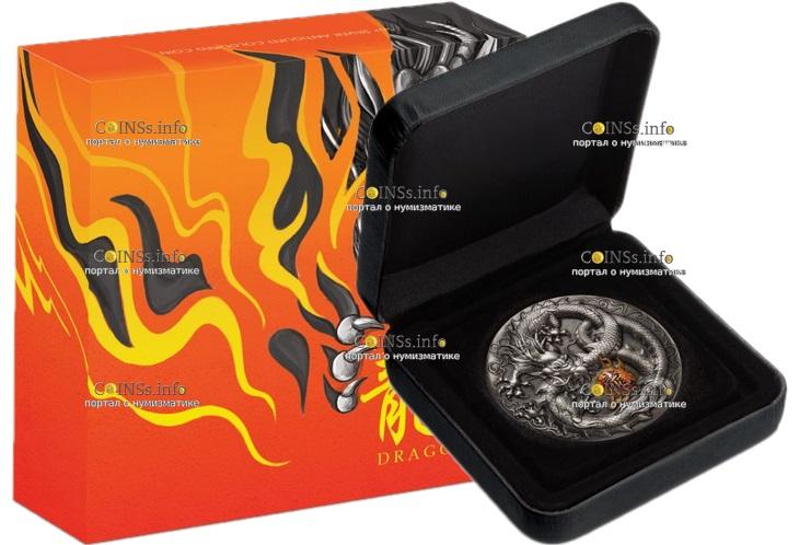 Тувалу монета 5 долларов Дракон, подарочная упаковка