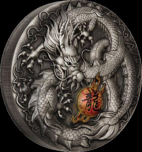 Тувалу монета 5 долларов Дракон, реверс