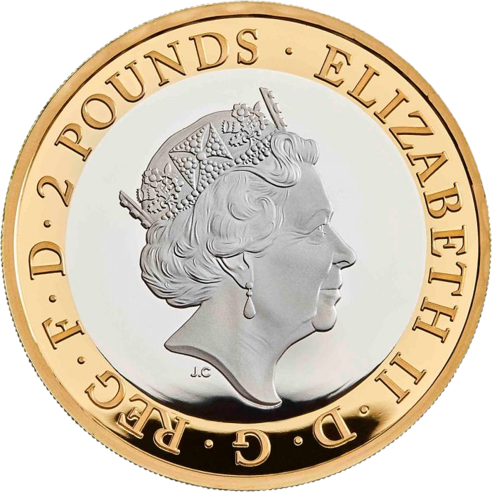 Великобритания монета 2 фунта День Д, серебро, аверс