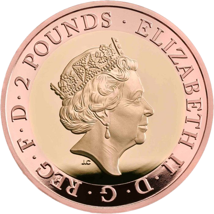 Великобритания монета 2 фунта День Д, золото, аверс