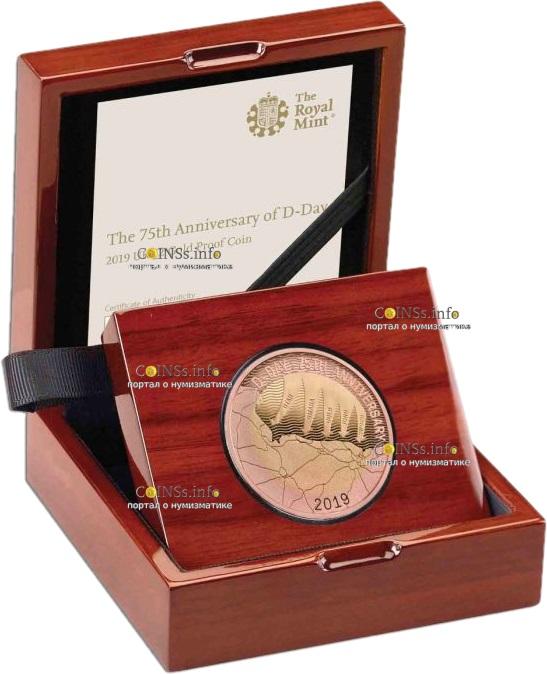 великобритания монета 2 фунта День Д, золото, подарочная упаковка