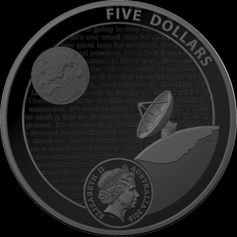 Австралия монета 5 долларов 50-летие полета на Луну, аверс