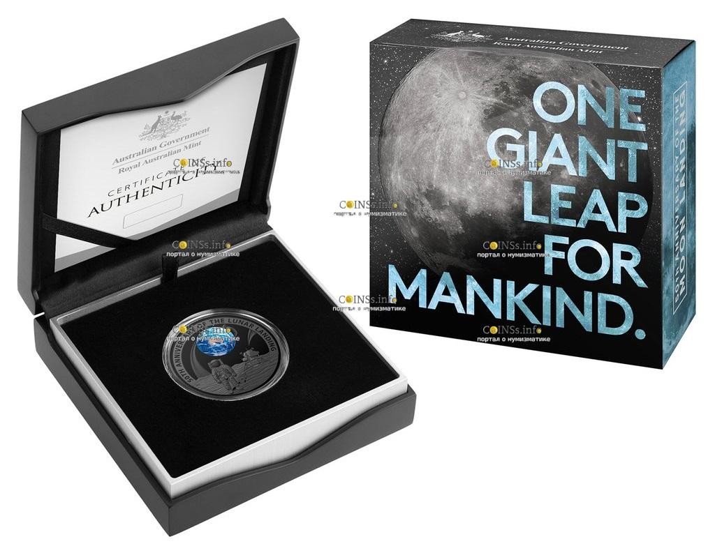 Австралия монета 5 долларов 50-летие полета на Луну, подарочная упаковка