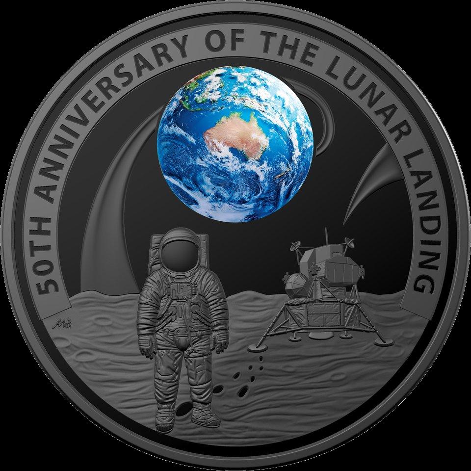 Австралия монета 5 долларов 50-летие полета на Луну, реверс