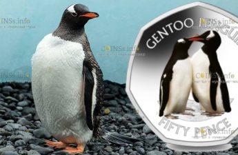 Британской антарктической территории монета 50 пенсов Субантарктический пингвин