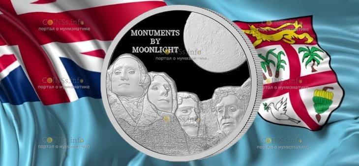 Фиджи монета 1 доллар гора Рашмор