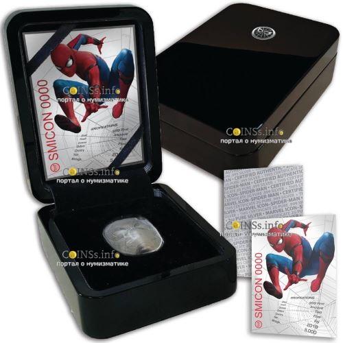 Фиджи монета 5 долларов Маска Спайдермена, подарочная упаковка