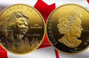 Канада монета 100 долларов Лев