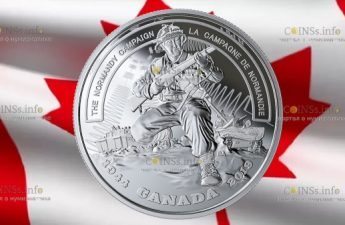 Канада монета 20 долларов Нормандская компания
