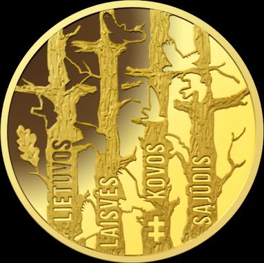 Литва монета 50 евро Движение по борьбе за свободу Литвы, реверс