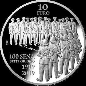 Мальта монета 10 евро 100 летие беспорядков Сетте Джуньо, реверс