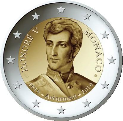 Монако монета 2 евро Князь Монако Оноре V, реверс