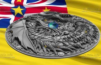 Ниуэ монета 2 доллара Норвежский дракон