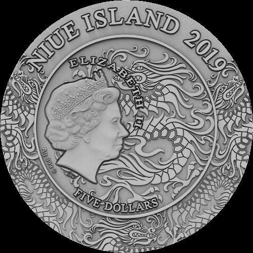 Ниуэ монета 5 долларов Чжао Юнь, аверс