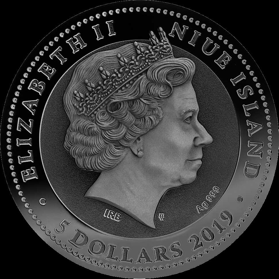 Ниуэ выпускают монету 5 долларов Боевая колесница, аверс