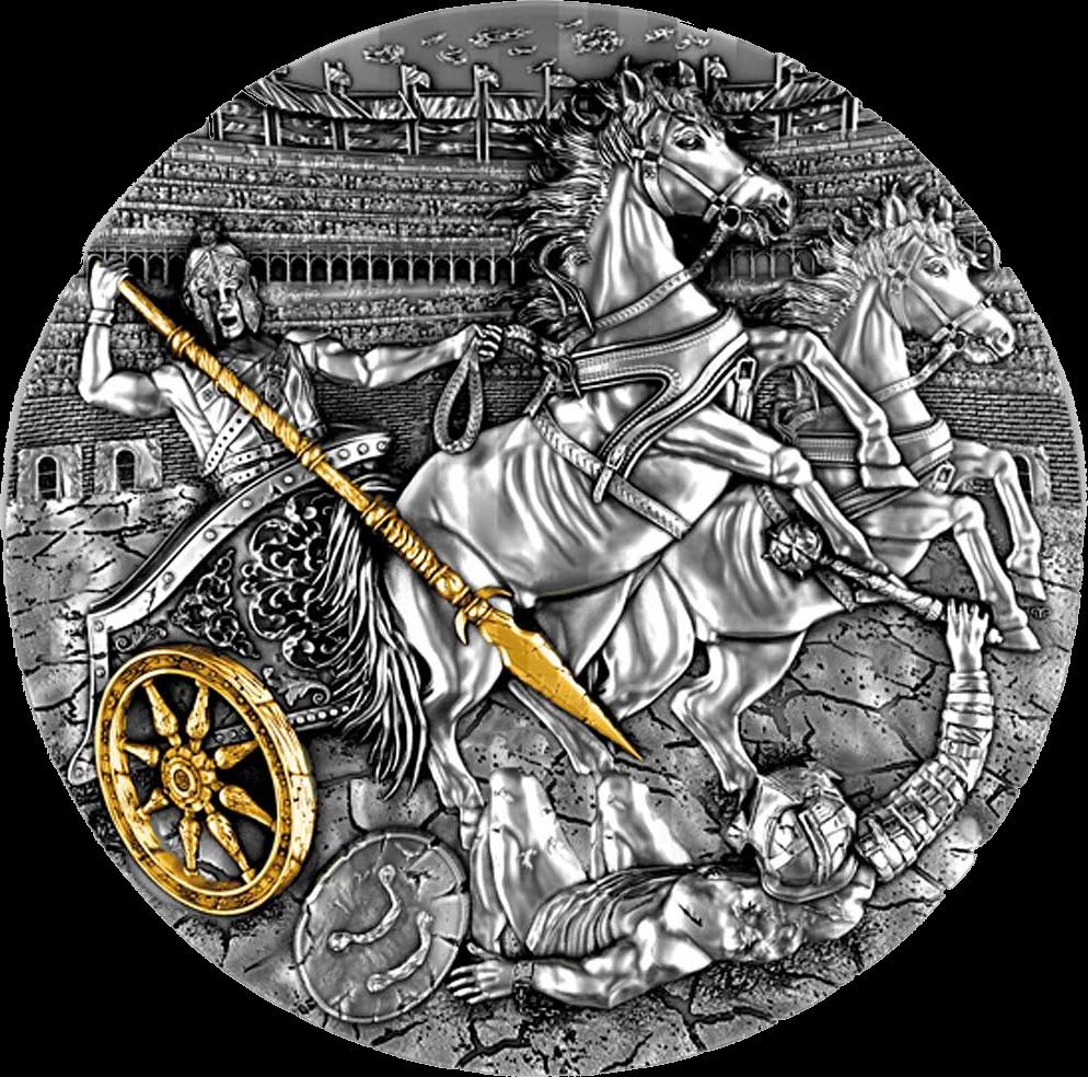 Ниуэ выпускают монету 5 долларов Боевая колесница, реверс