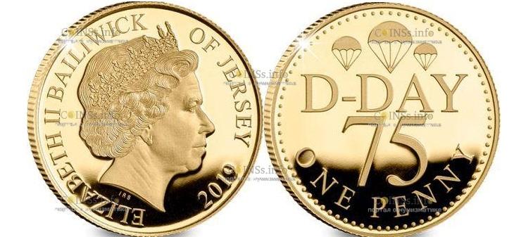 Остров Джерси монета один пенни 75-летний юбилей Дня Д