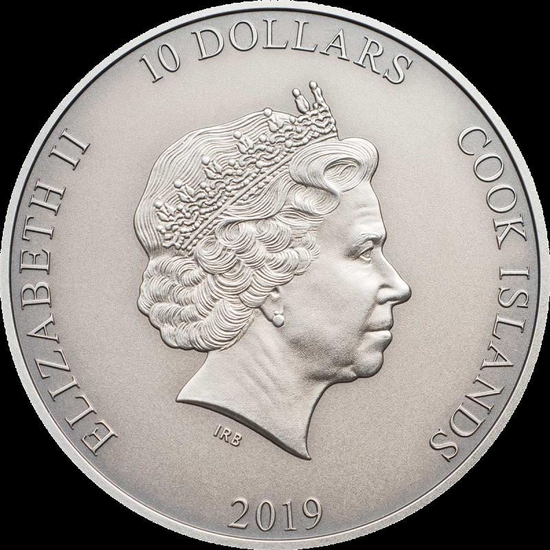 Острова Кука монета 10 долларов Крылатые сандалии Гермеса, аверс