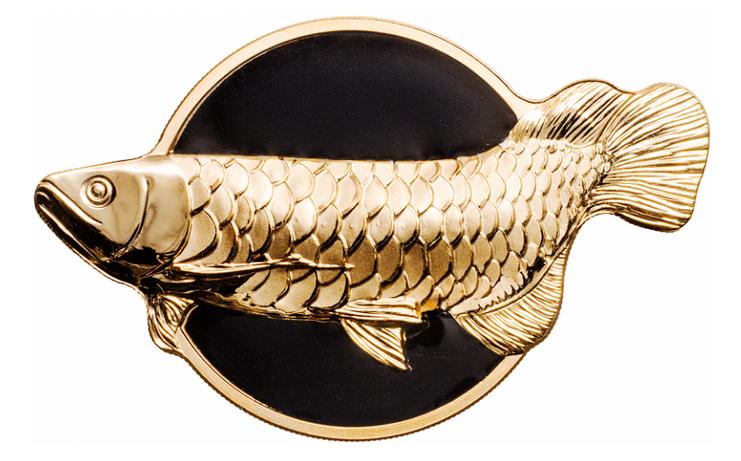 Палау монета 10 долларов Рыба-дракон - золотая аравана, реверс