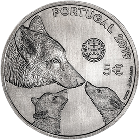 Португалия монета 5 евро Иберийский волк, аверс