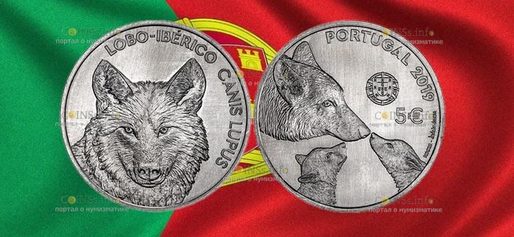 Португалия монета 5 евро Иберийский волк