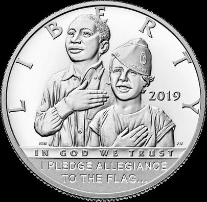 США монета 1-2 доллара 100-летию Американского легиона, аверс