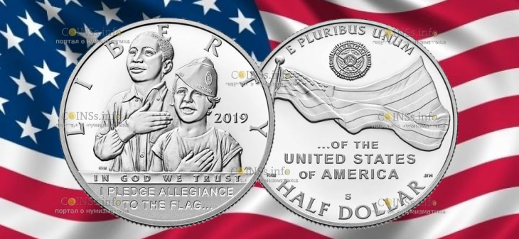 США монета 1-2 доллара 100-летию Американского легиона