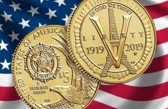 США монета 5 долларов 100-летию Американского легиона