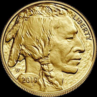 США монета 50 долларов Американский буффало 2019, аверс