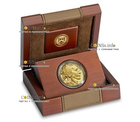США монета 50 долларов Американский буффало 2019, подарочная упаковка
