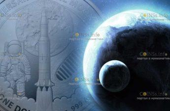 Австралия монета 1 доллар 50 лет высадки на Луне
