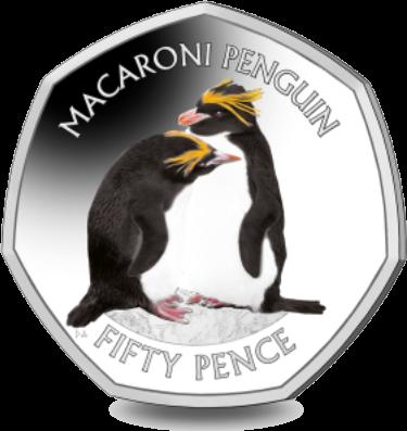 Британской антарктической территории монета 50 пенсов Золотоволосый пингвин, реверс