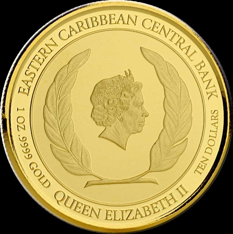 Доминика монета 10 долларов попугай Сиссеру, аверс