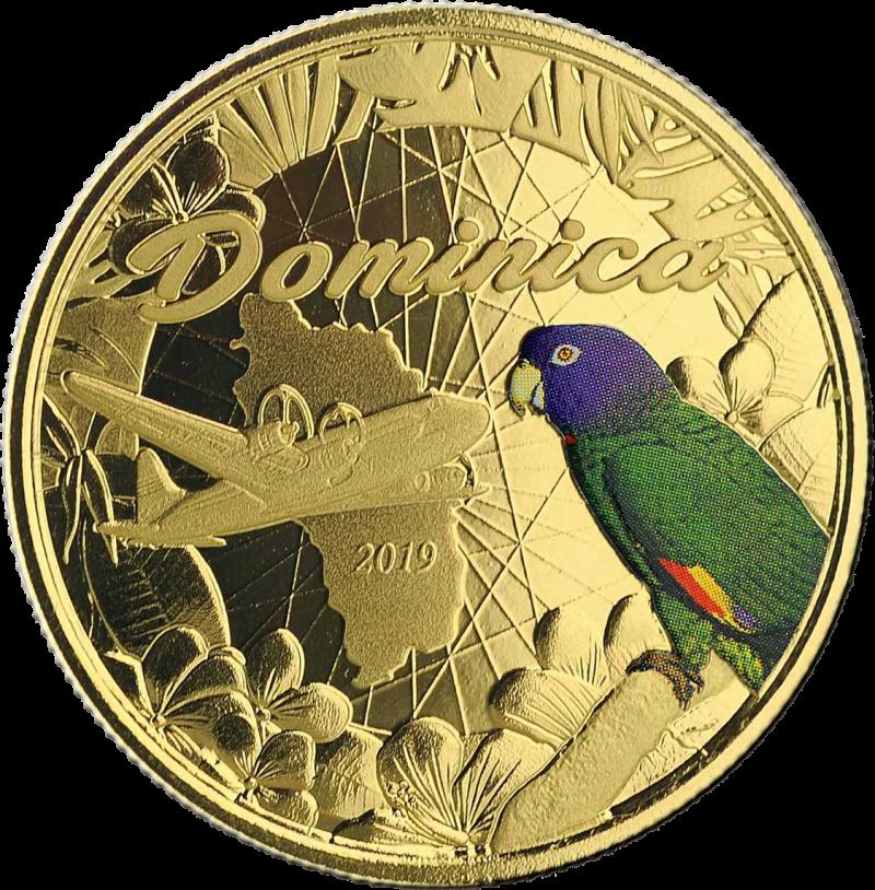 Доминика монета 10 долларов попугай Сиссеру, реверс