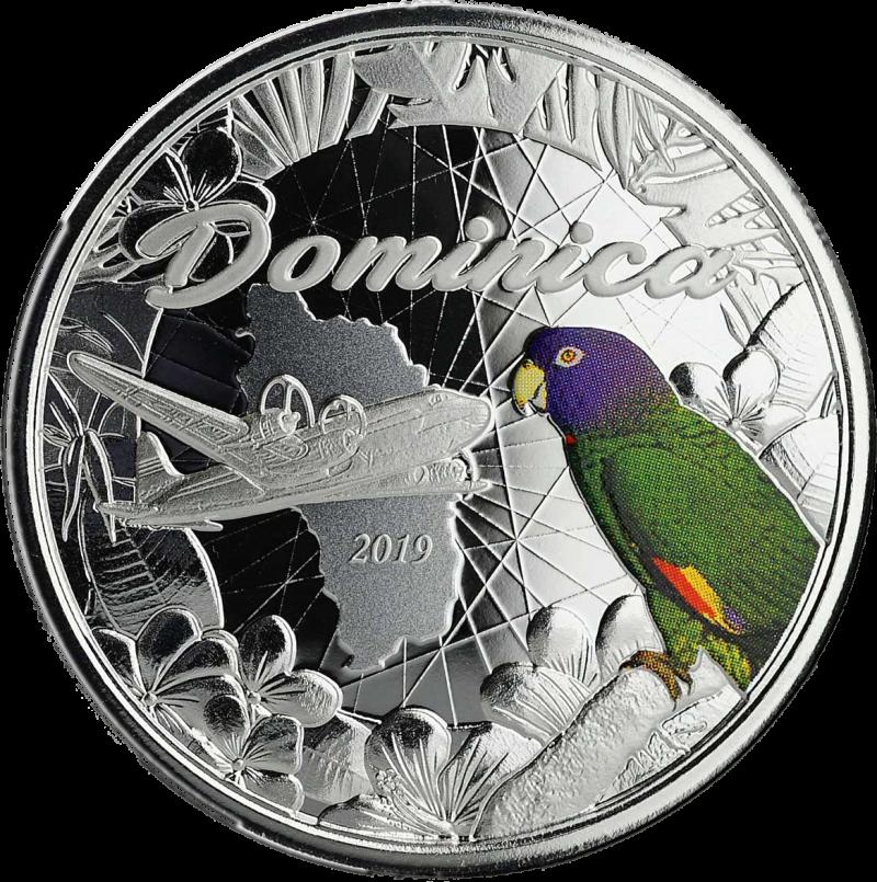 Доминика монета 2 доллара попугай Сиссеру, реверс