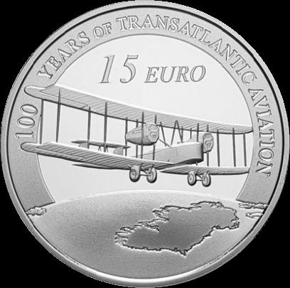 Ирландия монета 15 евро 100-летие первого трансатлантического перелета, реверс