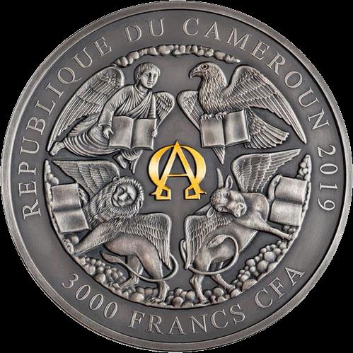 Камерун монета 3000 франков КФА Четыре всадника апокалипсиса, аверс