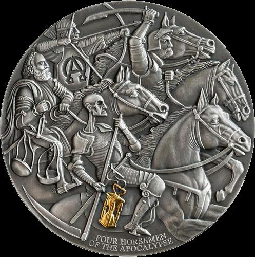 Камерун монета 3000 франков КФА Четыре всадника апокалипсиса, реверс