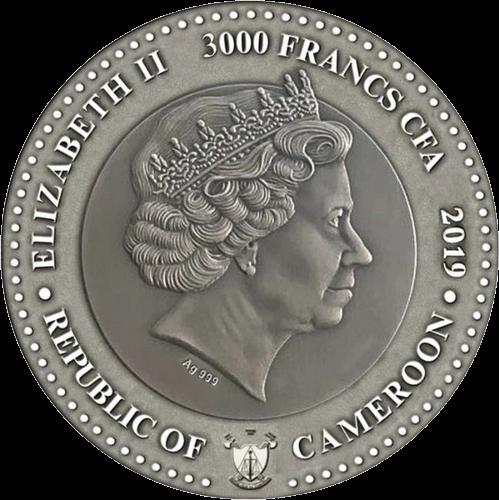 Камерун монета 3000 франков КФА Меркурий, аверс