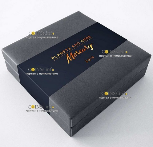 Камерун монета 3000 франков КФА Меркурий, подарочная упаковка