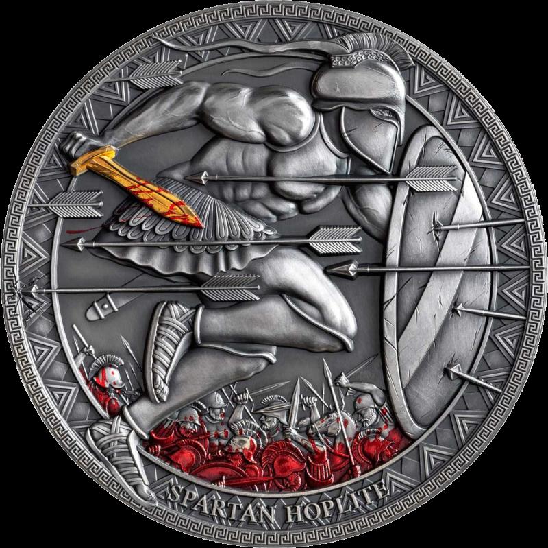 Камерун монета 3000 франков КФА Спартанский гоплит, реверс