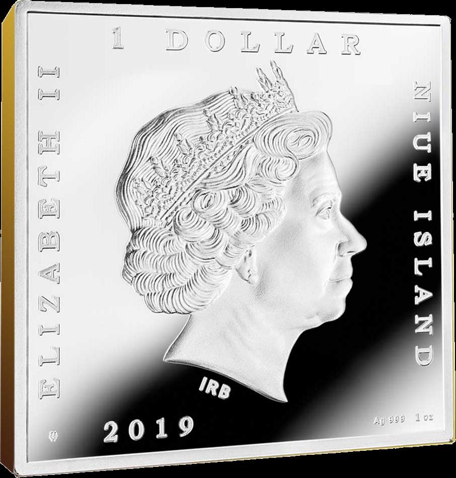 Ниуэ монета 1 доллар 2019 год, квадратная, аверс