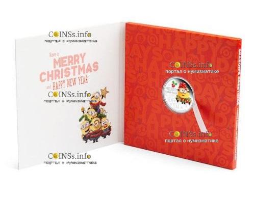 Ниуэ монета 2 доллара Миньон Рождество 2019 года, подарочная упаковка