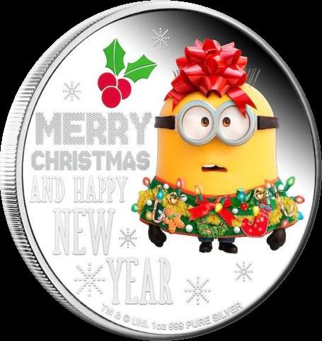 Ниуэ монета 2 доллара Миньон Рождество 2019 года, реверсНиуэ монета 2 доллара Миньон Рождество 2019 года, реверс