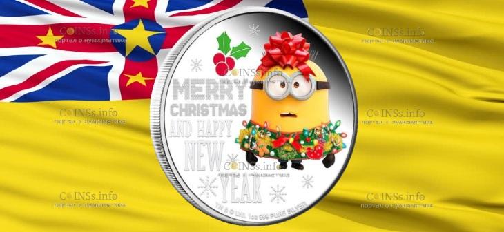 Ниуэ монета 2 доллара Миньон Рождество 2019 года