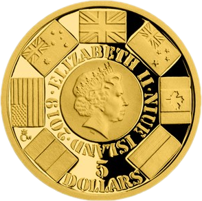 Ниуэ монета 5 долларов операция OVERLORD, аверс