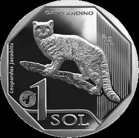 Перу монета 1 соль Андский горный кот, реверс