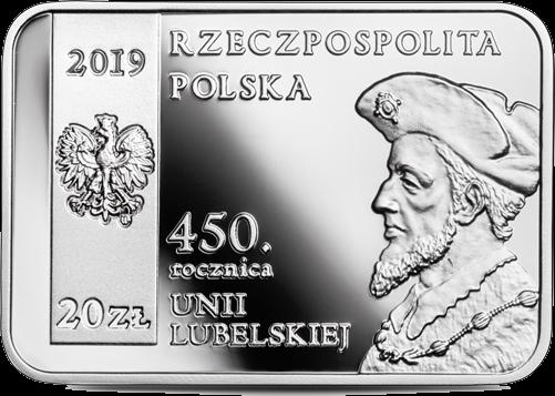 Польша монета 20 злотых 450 лет Люблинской унии, аверс